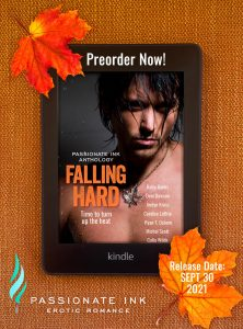 Cover of the Passionate Ink 2021 Anthology, Falling Hard. Available for preorder on Amazon